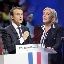 NICE, FRANCE - APRIL 27: Front Party Leader and Presidential Candidate Marine Le Pen addresses voters during a political meeting on April 27, 2017 in Nice, France. Le Pen is campaigning against 'En Marche' Founder and Leader Emmanuel Macron for the next round of the French Presidential Elections on May 7. (Photo by Aurelien Meunier/Getty Images)
